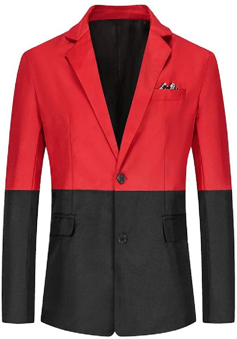 CRYYU Men Business Fashion Two-Tone Slim Single Breasted Blazer Jackets
