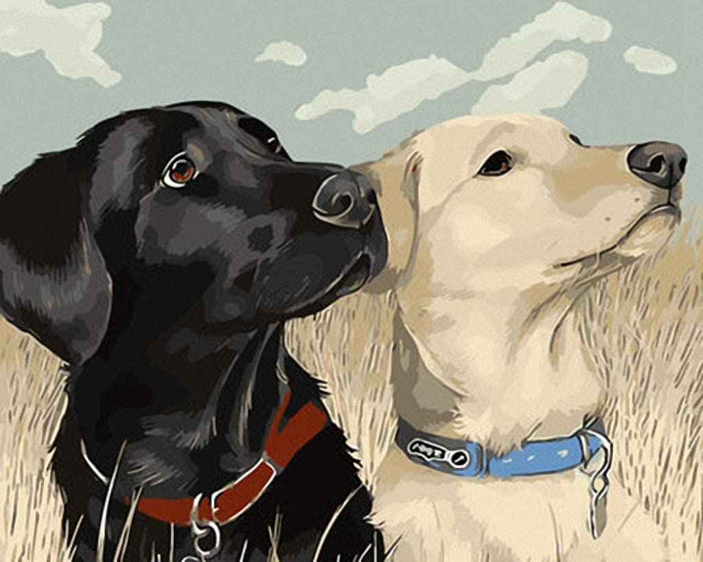 A Pair of Dogs in Field Hand Painted Design Needlepoint Canvas A00296 (10CT Penelope,16