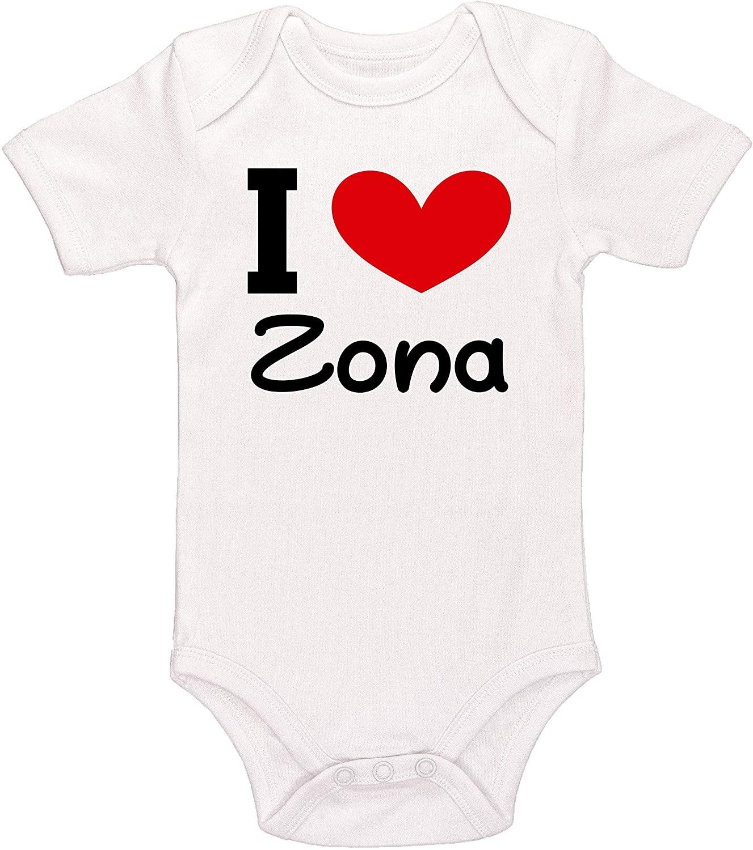 Kinacle I Love Zona Personalized Baby Bodysuit