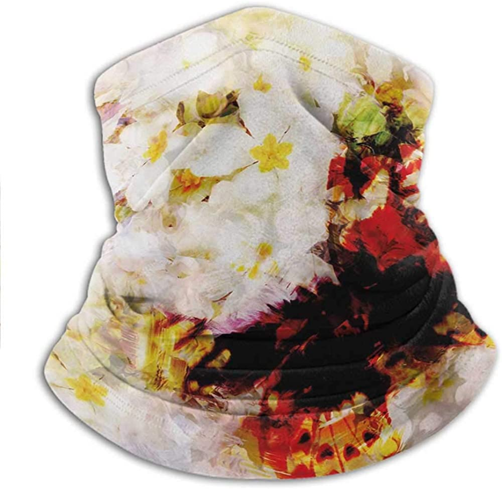 Sport Scarf Fresh Flower Garden with Orchids Roses Jasmines and Butterflies in Abstract Design Quickly Dry Breathable Bandana for Ski, Snowboard 10 x 11.6 Inch