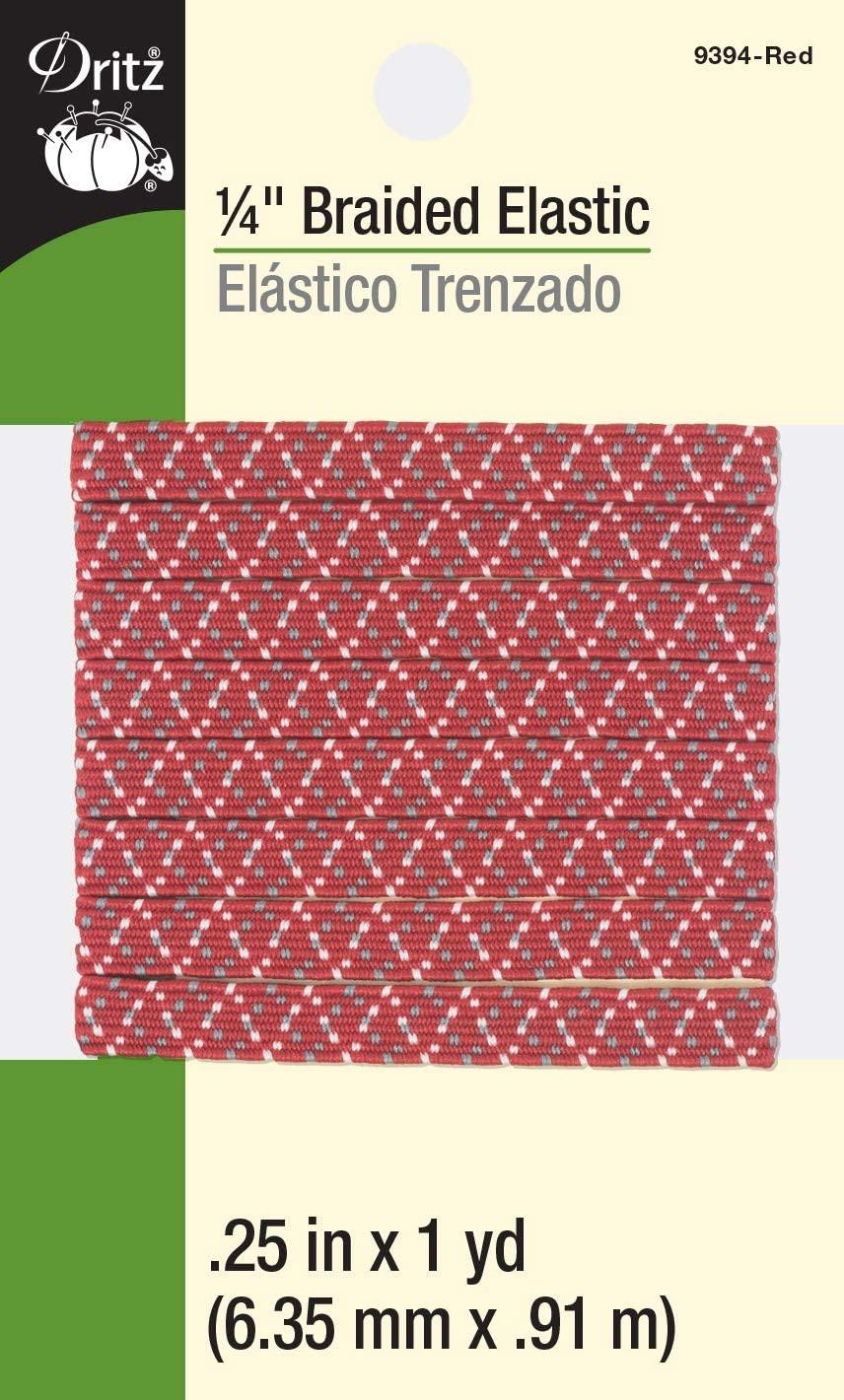 Dritz Braided Elastic, 1/4-Inch by 1-Yard, Red Multi