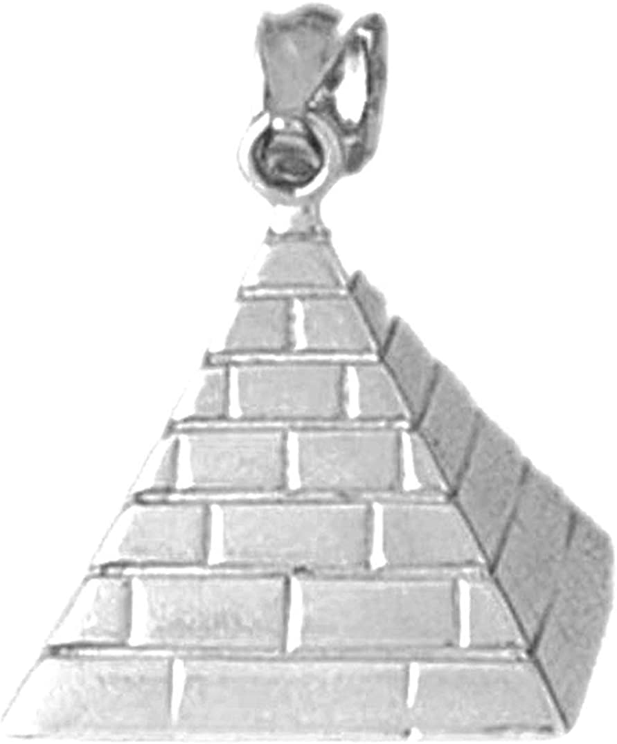Jewels Obsession 3D Pyramid Pendant | Sterling Silver 925 3D Pyramid Pendant - 23 mm