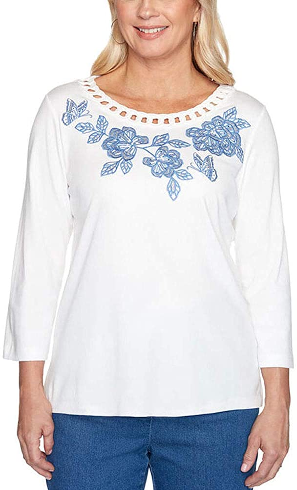 Alfred Dunner Women's Pearls of Wisdom Pullout Yoke Embroidery Top