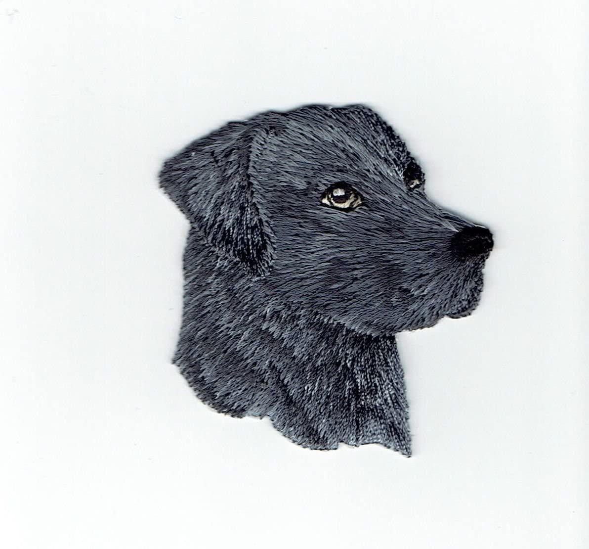 Black Lab - Head - Dog - Pets - Labrador Retriever - Iron on Embroidered Patch Applique