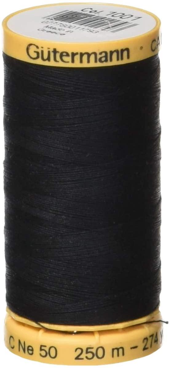 Gutermann Natural Cotton Thread 273 Yards-Black