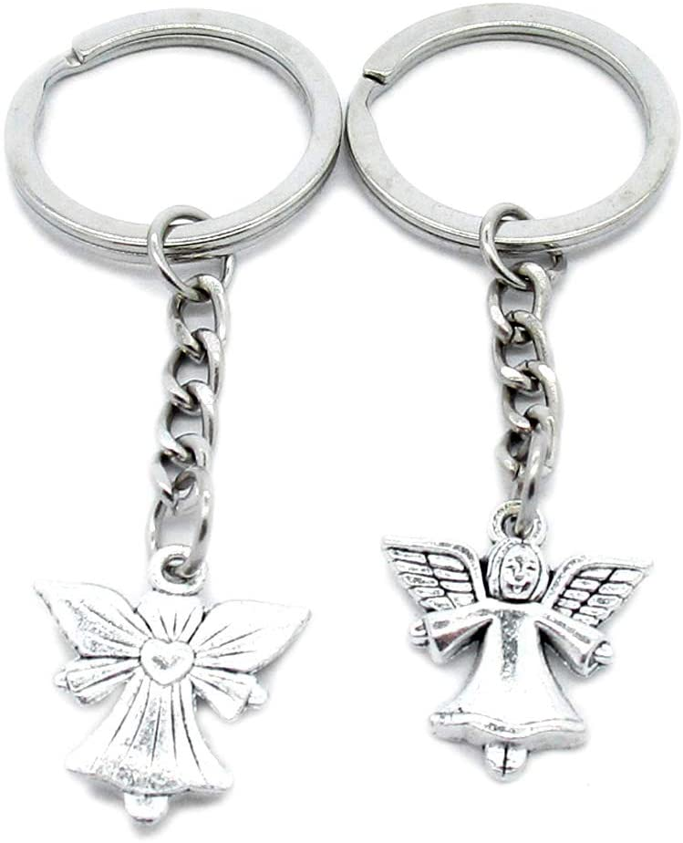 50 Pieces Keychain Keyring Door Car Key Chain Ring Tag Wholesale Supplier Clasps N1CX4E Love Heart Angel