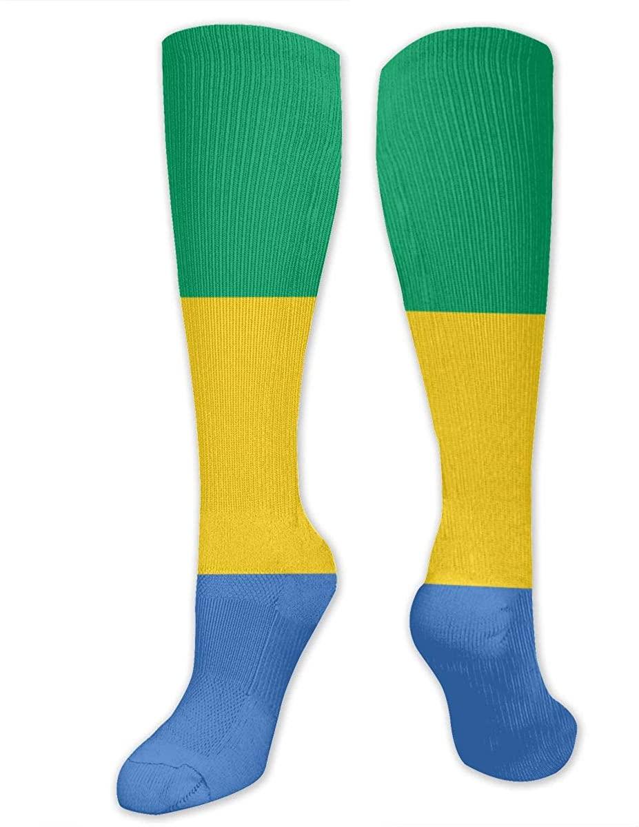 Men Women Knee High Socks Gabon Flag Tube Long Hose Workout Stockings