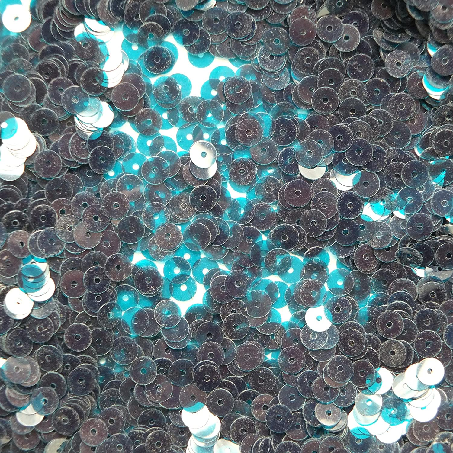 6mm Flat Round Sequins ~ Deep Turquoise Blue Transparent See-Thru ~ Made in USA. Loose paillettes for embroidery, bridal, applique, arts, crafts, and embellishment.