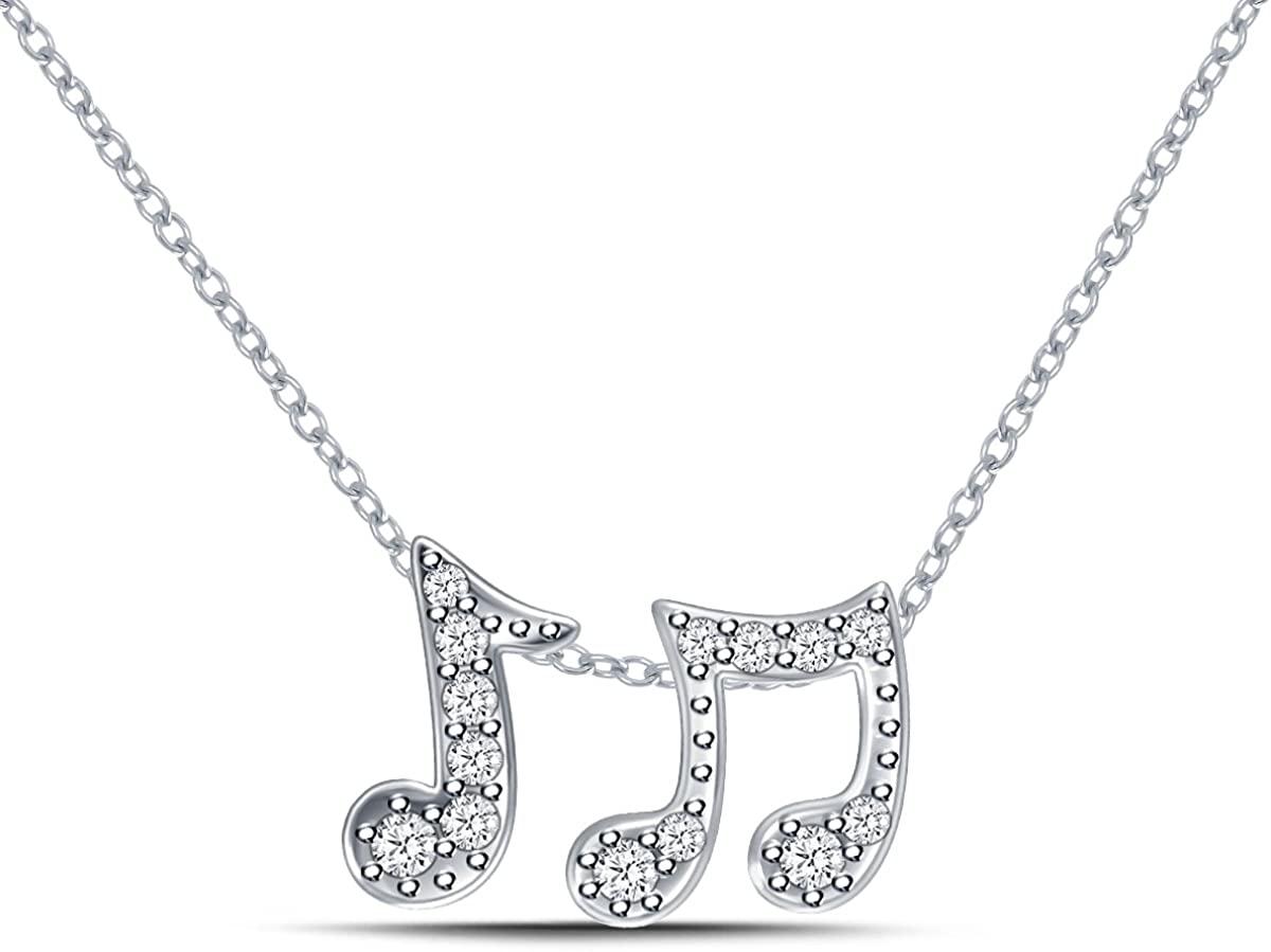 925 Silver Quavers/Eighth Music Note Diamond Pendant (0.10cttw, IJ/I2-I3)
