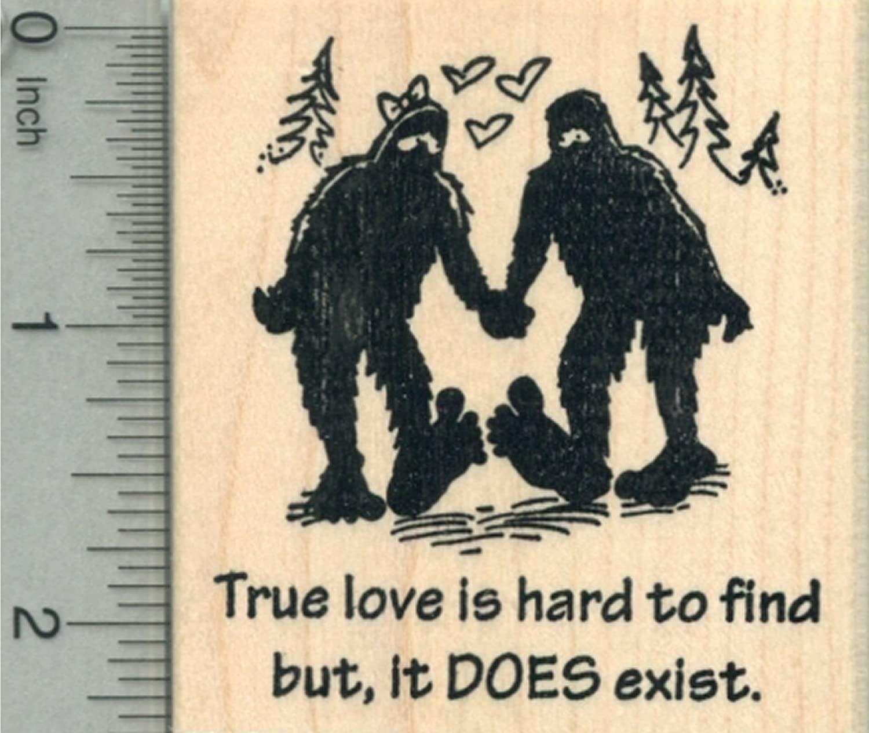 Valentine's Day Bigfoot Rubber Stamp, True Love Does Exist, Sasquatch