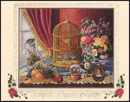 Nostalgia Cat with Bird Cage Paper Tole 3D Kit 8x10