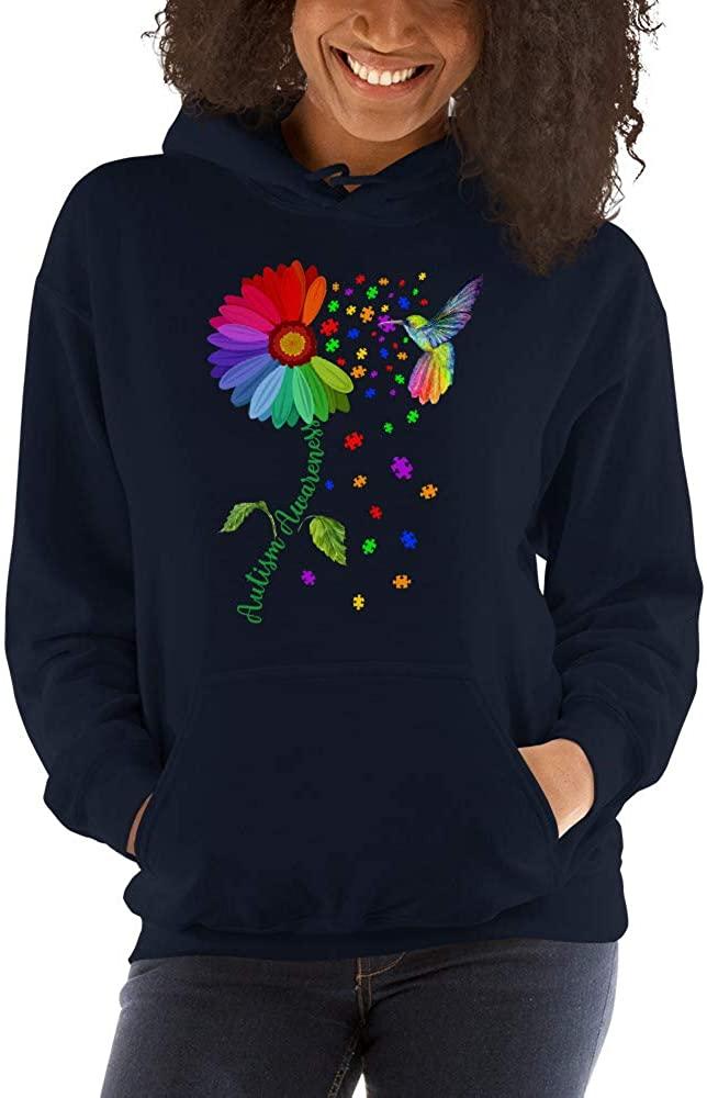 TEEPOMY Autism Awareness Month Hummingbird Sunflower Unisex Hoodie