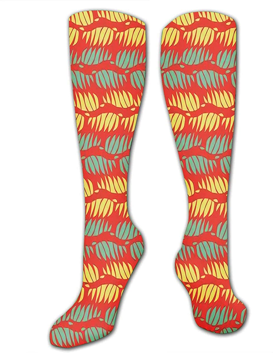 Sports Socks For Men Women Abstract Blue Yellow Wavy Shapes In Horizontal Design