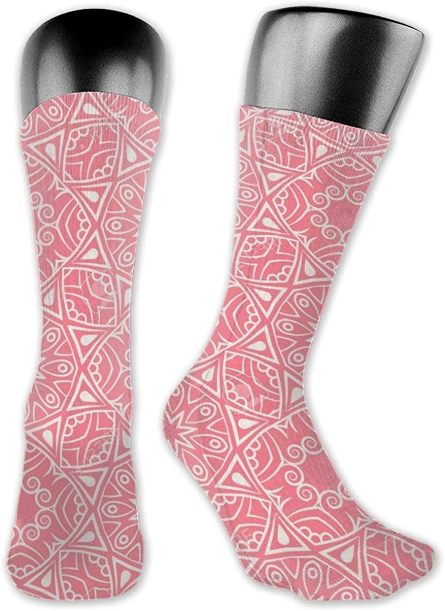 Fdeskaw 3d Indian Pattern Arabic Islamic Japanese Motifs Pink Mandala Crazy Design Soft & Stretchy Novelty Crew Socks For Men, Women & Kids