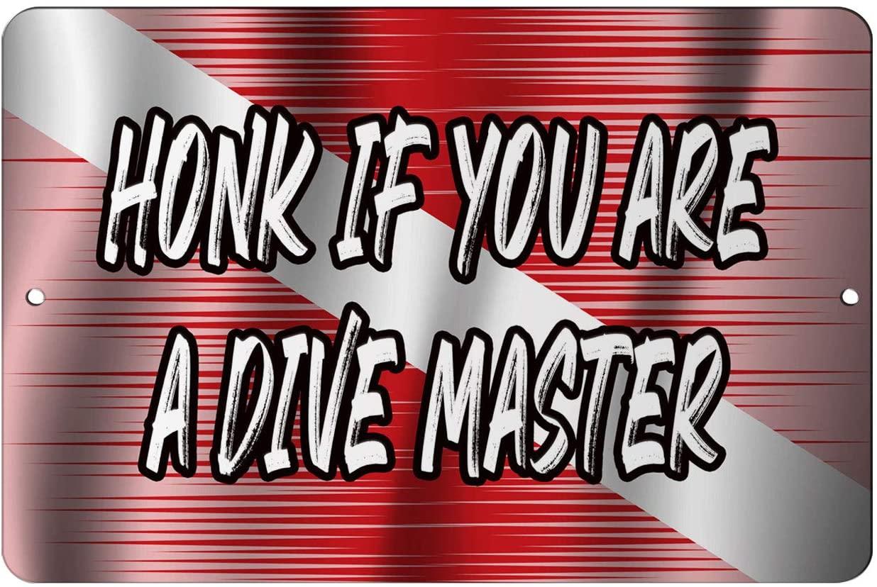 Makoroni - HONK IF You are A Dive Master Scuba Diver Design 12x18 inc Aluminum Decorative Wall Street Sign