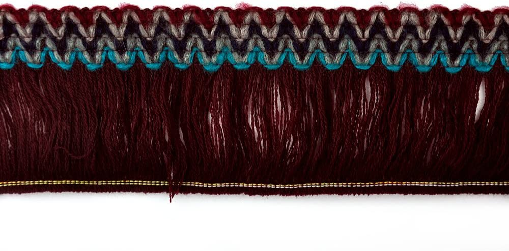 BELAGIO Enterprises Faux Mohair Fringe Trim, Wine Red