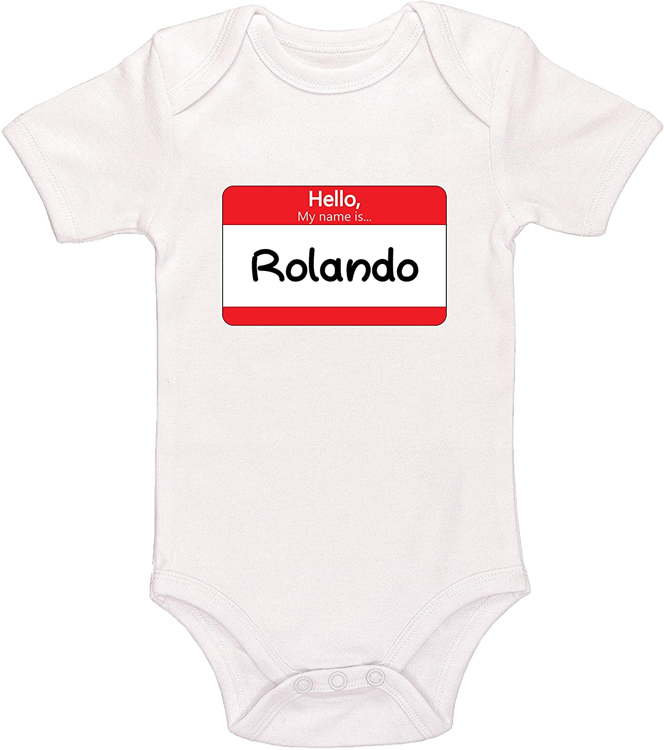 Kinacle Hello My Name is Rolando Personalized Baby Bodysuit