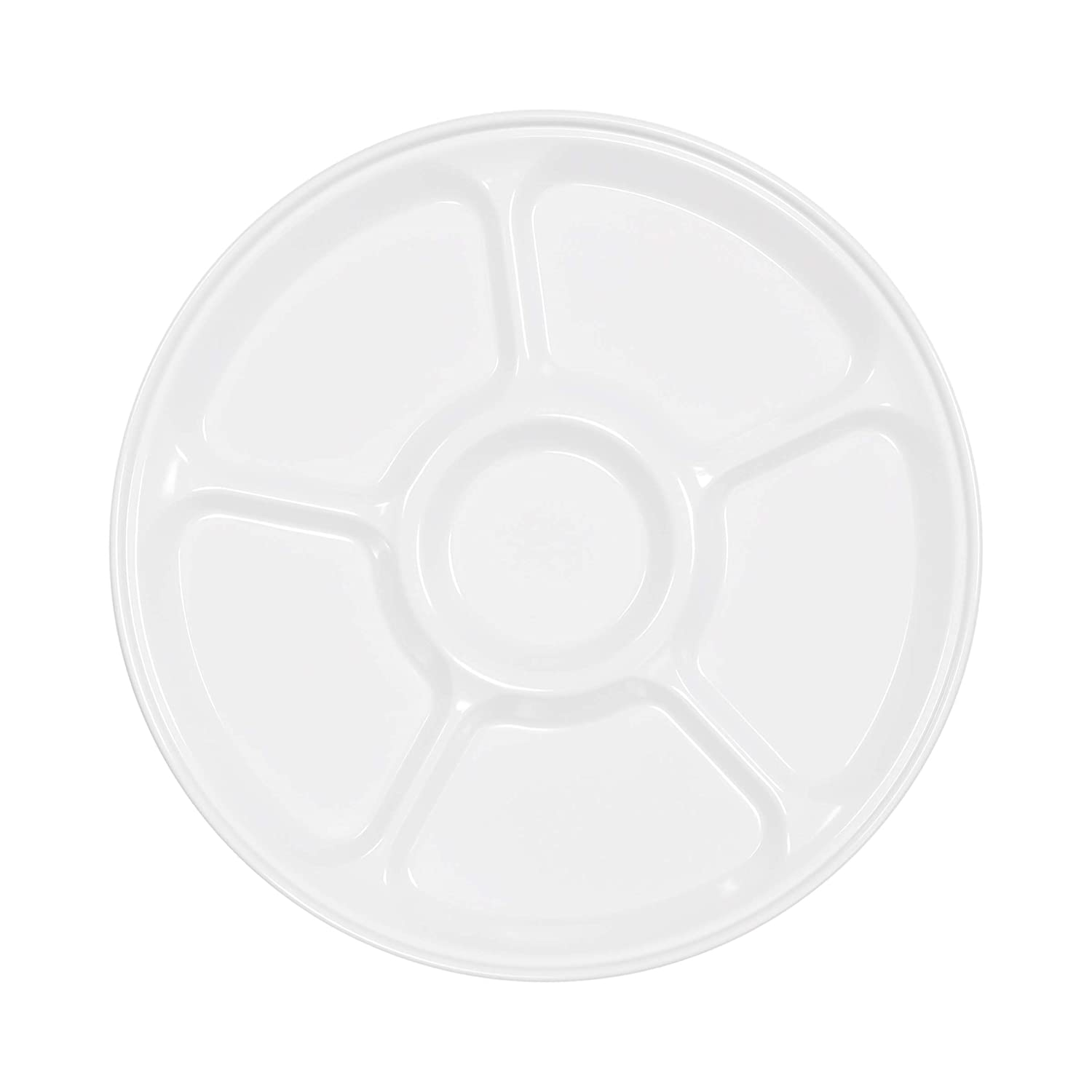 Elite Global Solutions M12P6-W Six Compartment Tray, 12Dia. x 3/4 h, Melamine, White (Pack of 4)