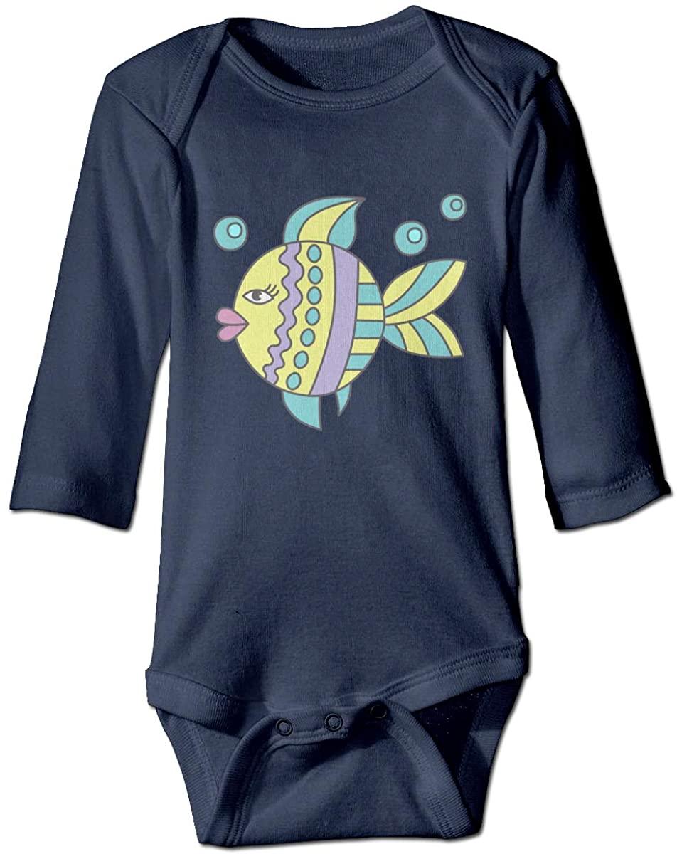 YOIGNG Doodles Fish Unisex Baby Bodysuit Infant Cotton Outfits Long Sleeve Jumpsuit