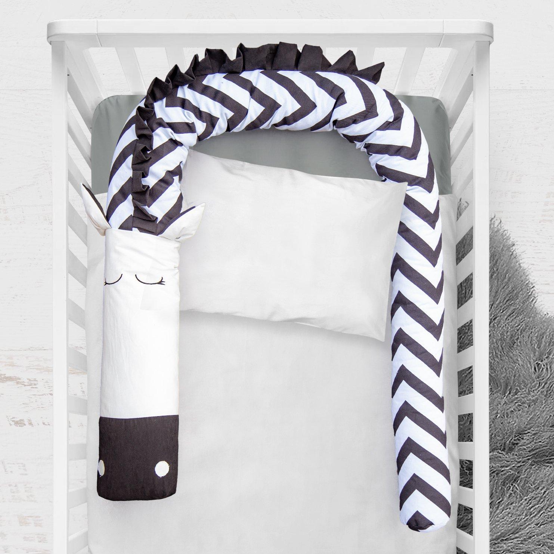 79 inch Bumper Snake Zebra, Crib Pillow Sleep Bumper, Unisex