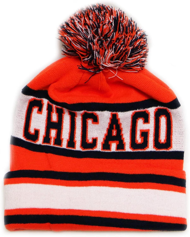 City Hunter Sk1130 Chicago Stripes Pom Pom Beanie Hats - Orange/navy
