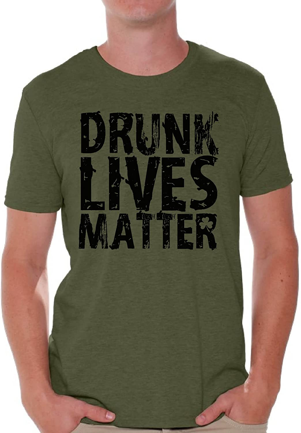 Awkward Styles Men's Drunk Lives Matter T Shirts for St. Patrick's Day