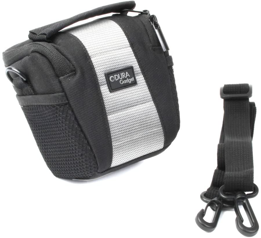 DURAGADGET Water-Resistant Black & Grey Cross-Body Carry Bag - Compatible with Nilox F-60/Foolish Ducati & Special