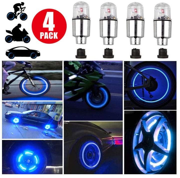 4pcs/lot Novelty LED Blue Colorful Bike Car Motorcycle Wheel Tire Tyre Valve Cap Neon Flash Light Lamp Auto Tires Accessories,Colorful