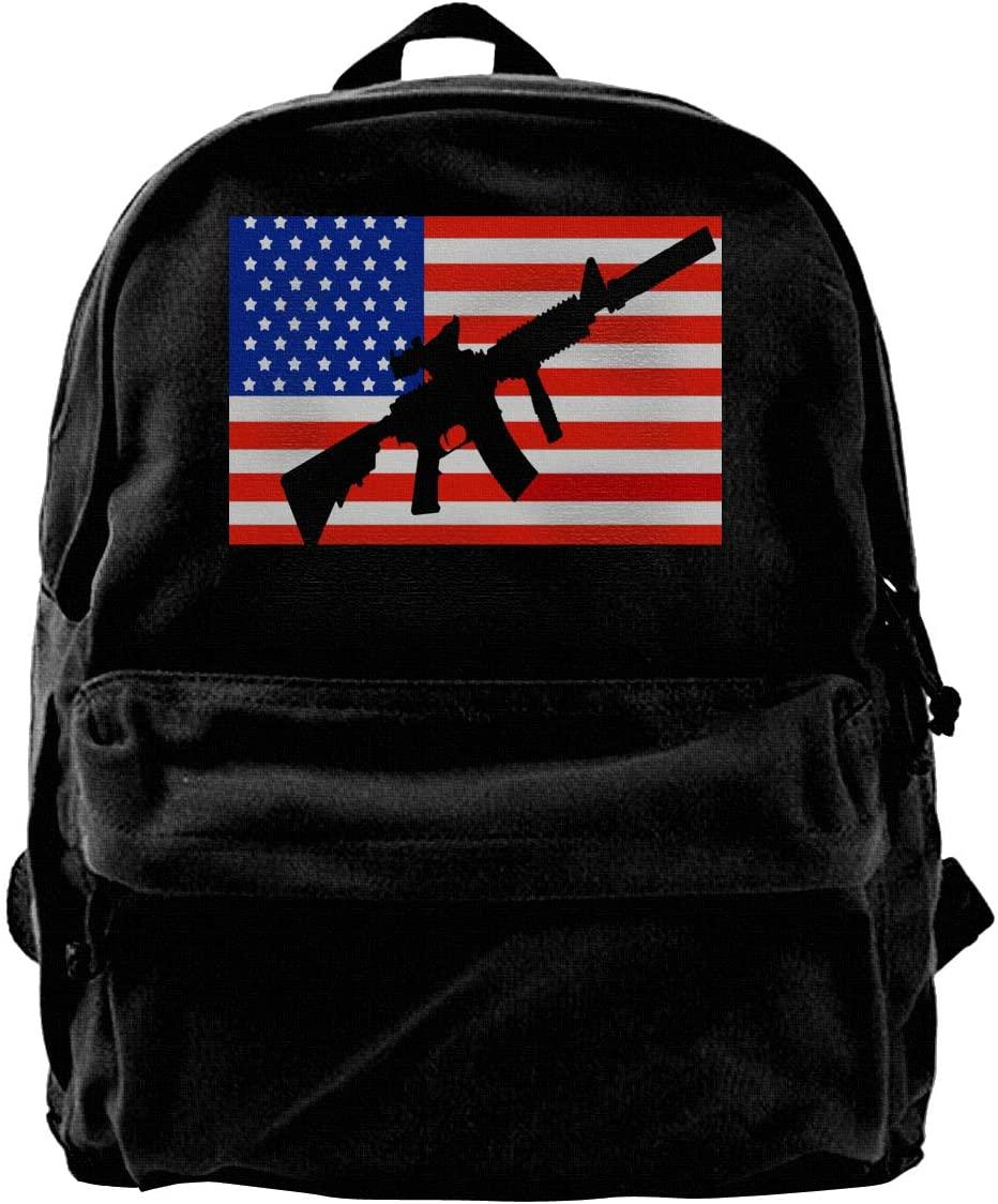 NRA National Rifle Association Symbol Canvas Backpack School Laptop Bag Hiking Travel Rucksack Black Unisex Daypack