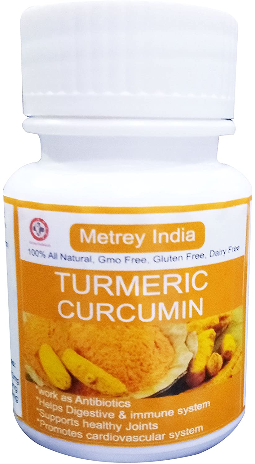METREY Turmeric Curcumin 500mg with Curcuminoids & BioPerine Black Pepper Extract, Advanced Absorption, Cardiovascular & Healthy Joints Support, 60 Vegetarian Capsules
