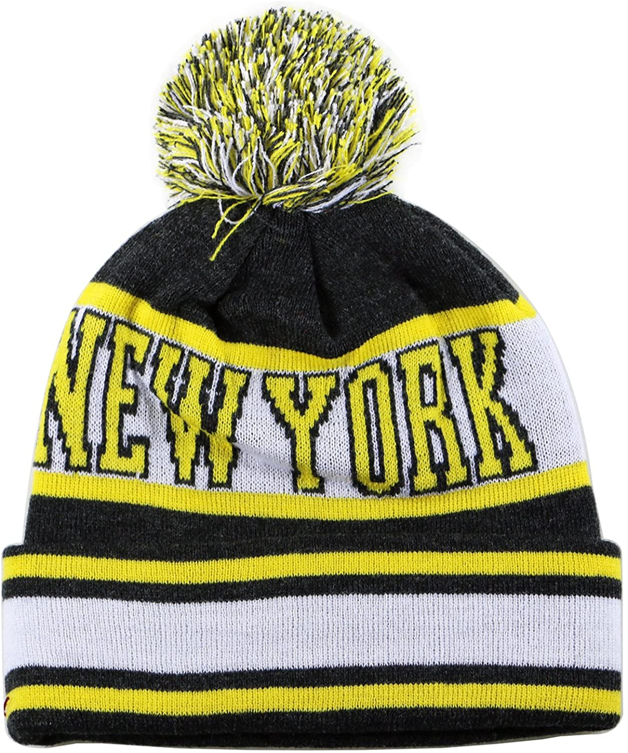 City Hunter Sk1130 New York Stripes Pom Pom Beanie Hats - Black/neon Yellow