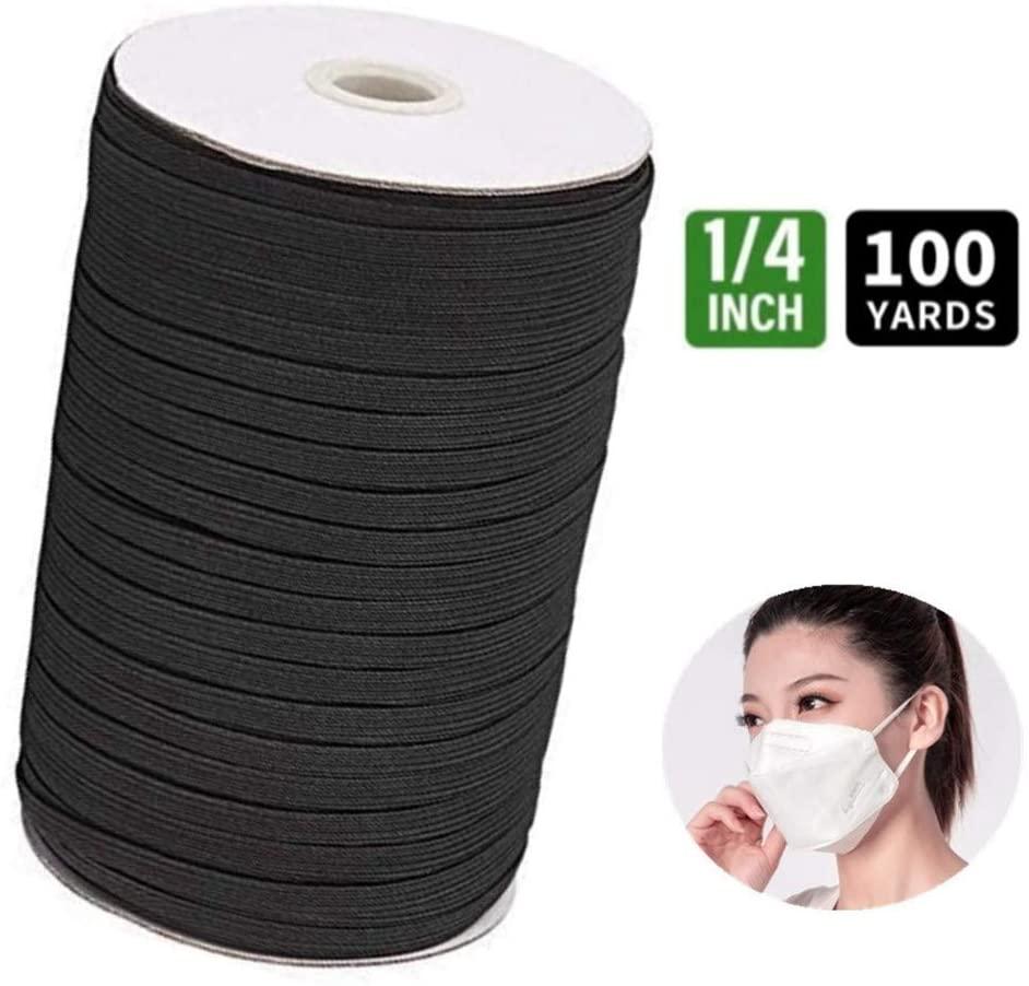100 Yards Flat Elastic Band, Braided Stretch Strap Cord Roll for DIY Sewing Crafting, 1/4 inch(6mm Width),Black