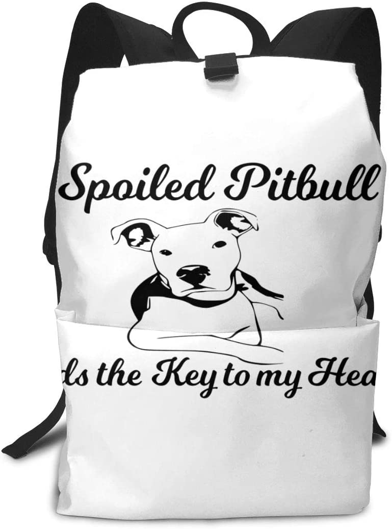 A Spoiled Pitbull Holds The Key to My Heart Travel Backpack Business Daypack Shoulders Bag Computer Rucksack