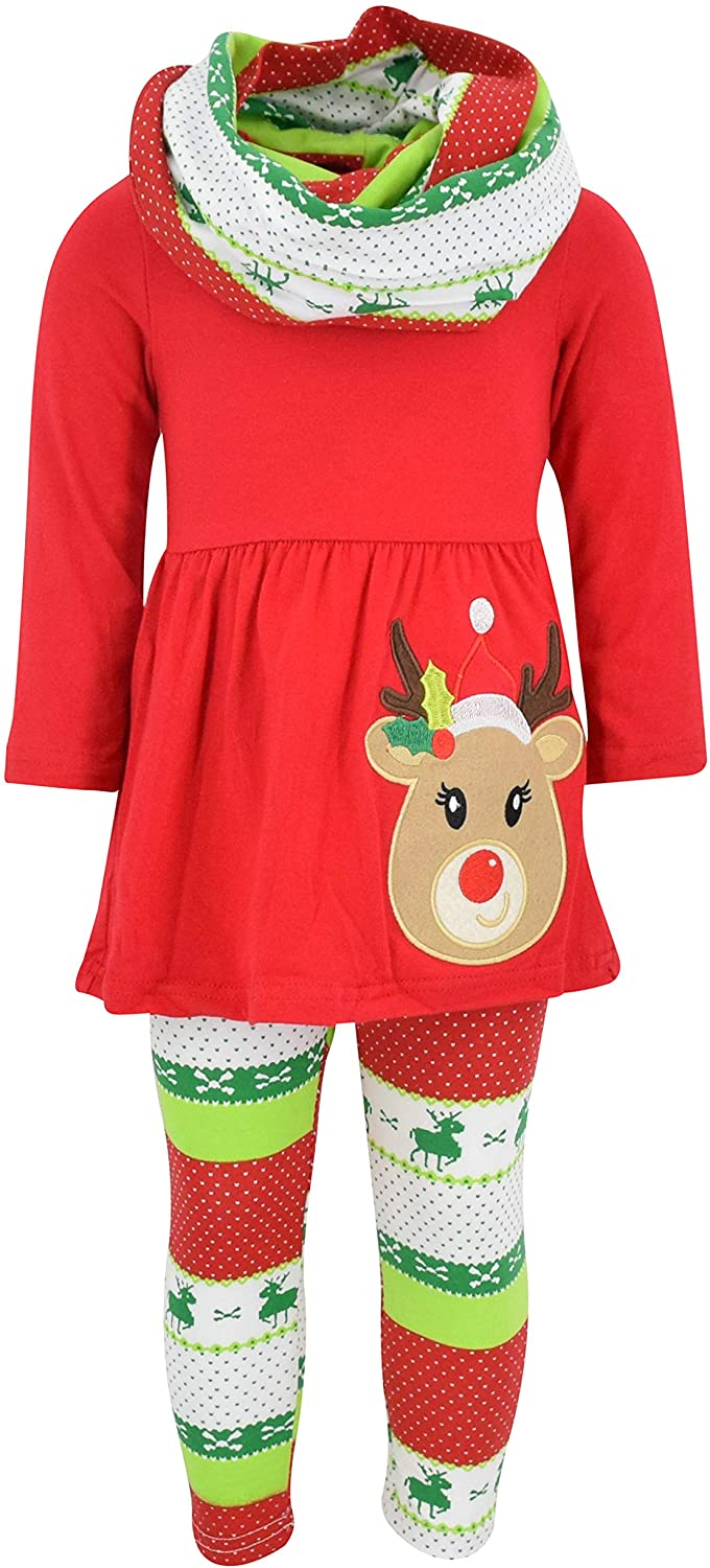 Unique Baby Girls 3 Piece Christmas Red Rudolph Legging Set Red