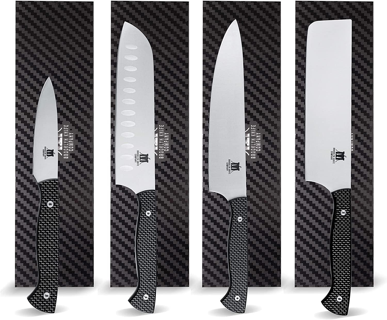 Brooklyn Knife Co. 4 Piece Set -Carbon Fiber Series- Japanese AUS-08 HC Steel 8-7-7-3.5-Inch