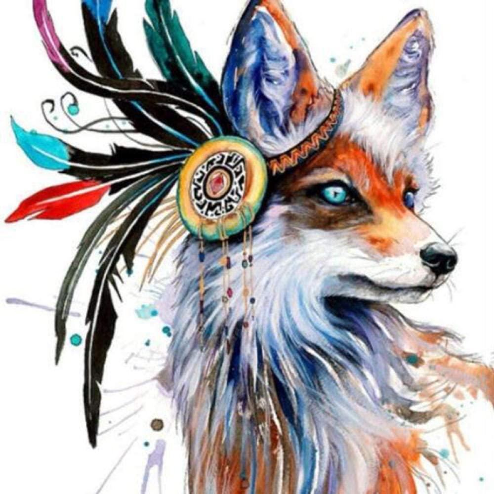5D DIY Diamond Painting Fox Home Decor Cross Ctitch Kit Full Round Drilling Embroidery Arts Craft Send Gifts 40x40cm