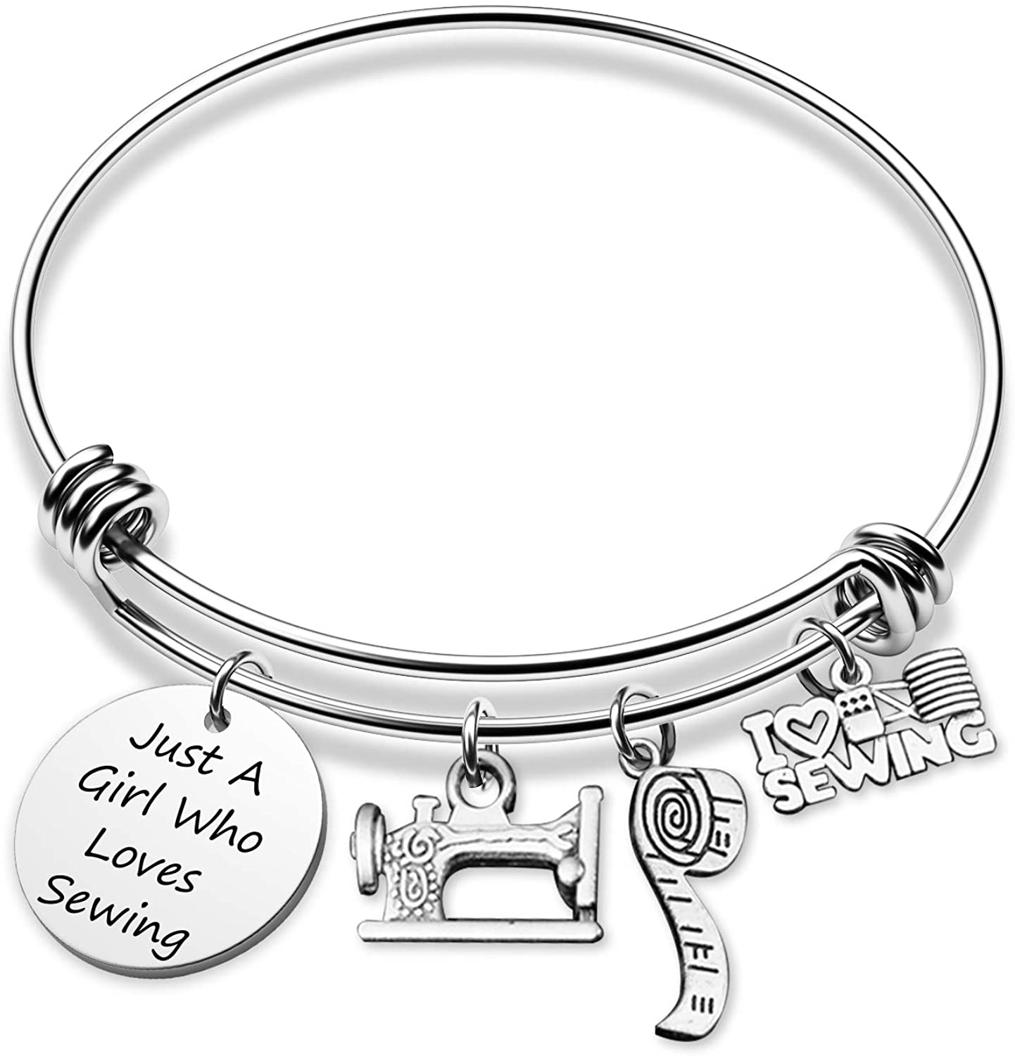 G-Ahora Sewing Bracelet Just A Girl Who Loves Sewing Quilting Lovers Gifts Sewing Charm Jewelry(Love Sewing BR)