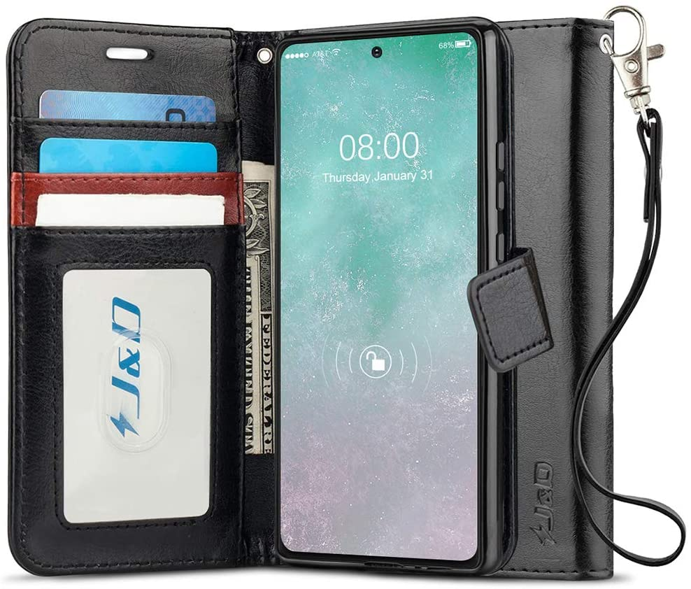 J&D Case Compatible for Samsung Galaxy Note 20 Case, [RFID Blocking Wallet] [Slim Fit] Heavy Duty Protective Shockproof Flip Cover Wallet Case - [Not for Galaxy Note 20 Ultra] (Black)