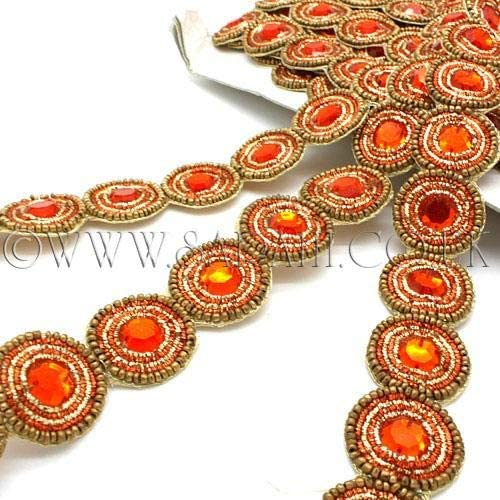 Orange Gold Rhinestone Beaded Trim Rhinestone Beaded Trim,Embellishment,Trimming,Costume,Parade,Carnival,Dance