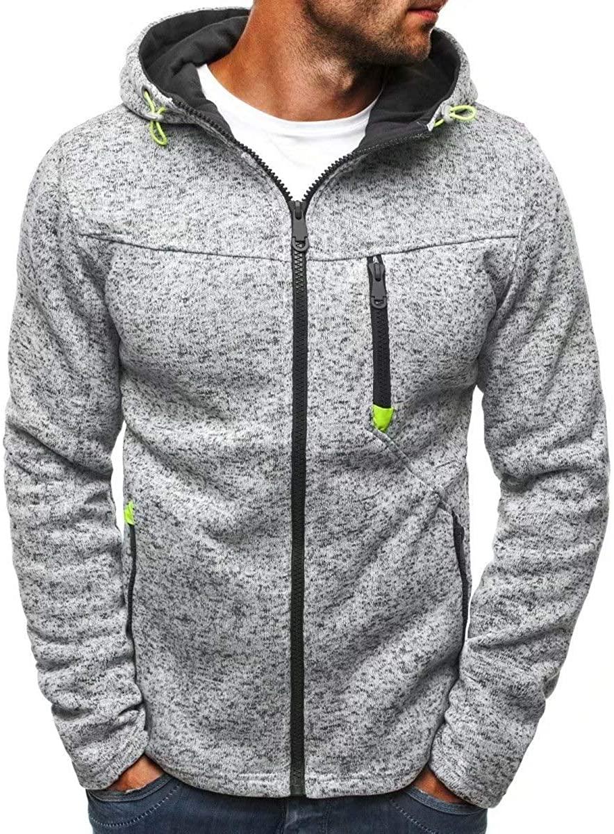Men Casual Striped Drawstring Hooded Jacket Zipper Closure Sweatshirts