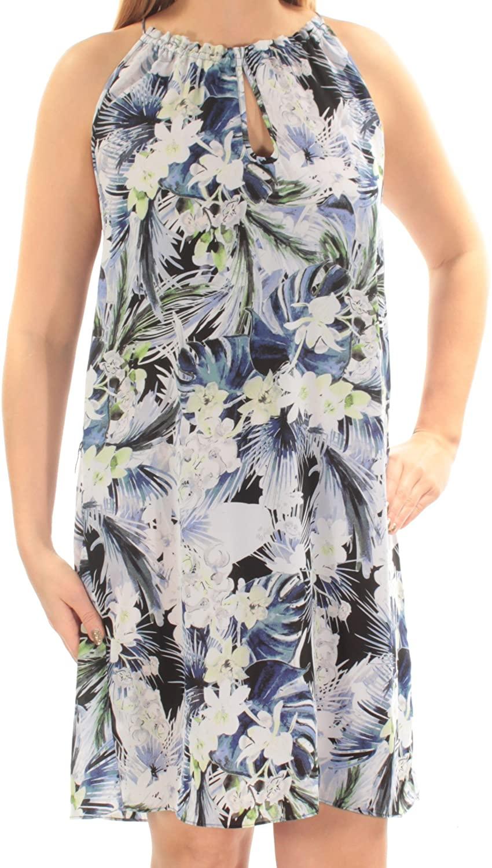 kensie Womens Floral Print Keyhole Cocktail Dress