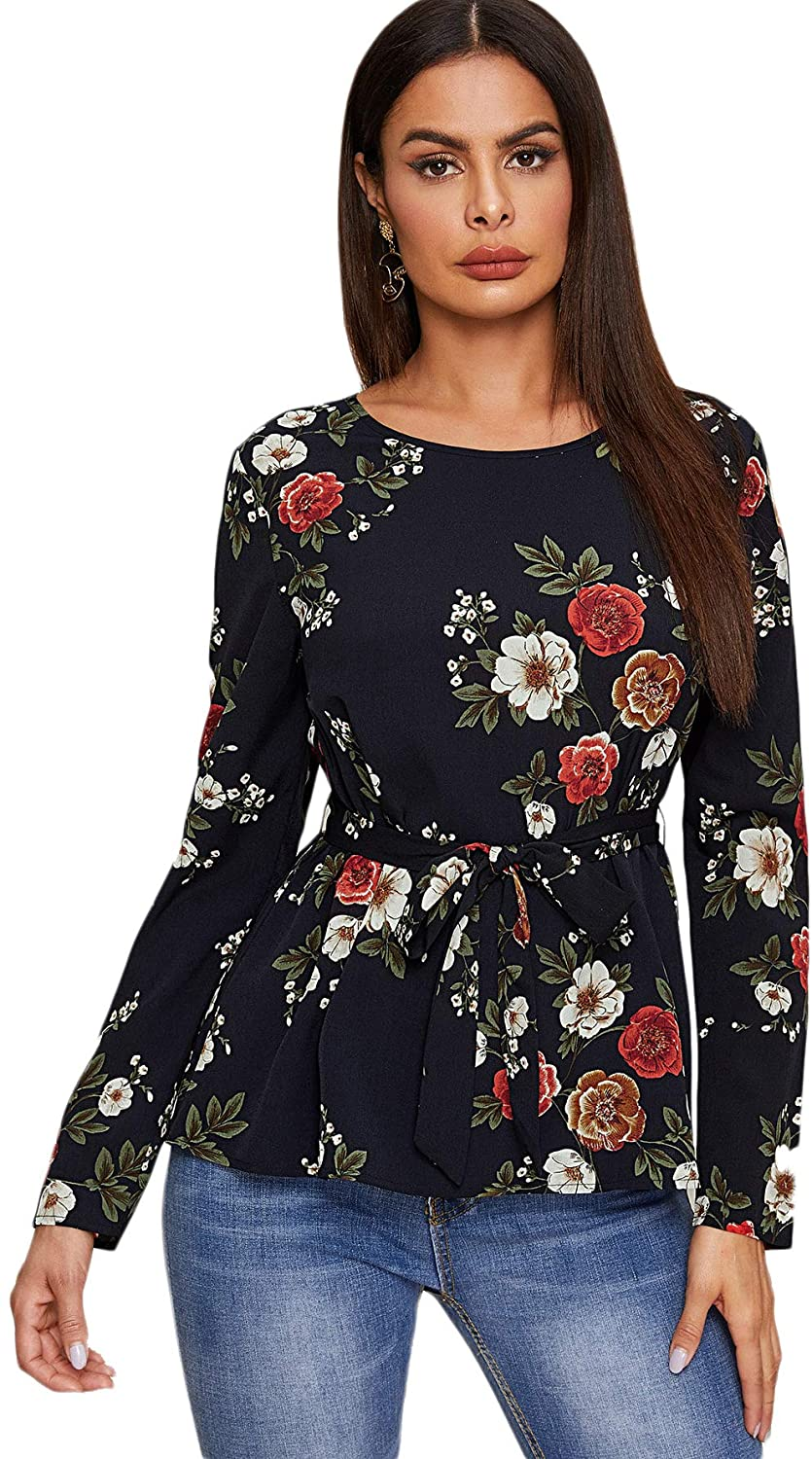 Floerns Women's Floral Print Long Sleeve Self Belted Casual Blouse Top