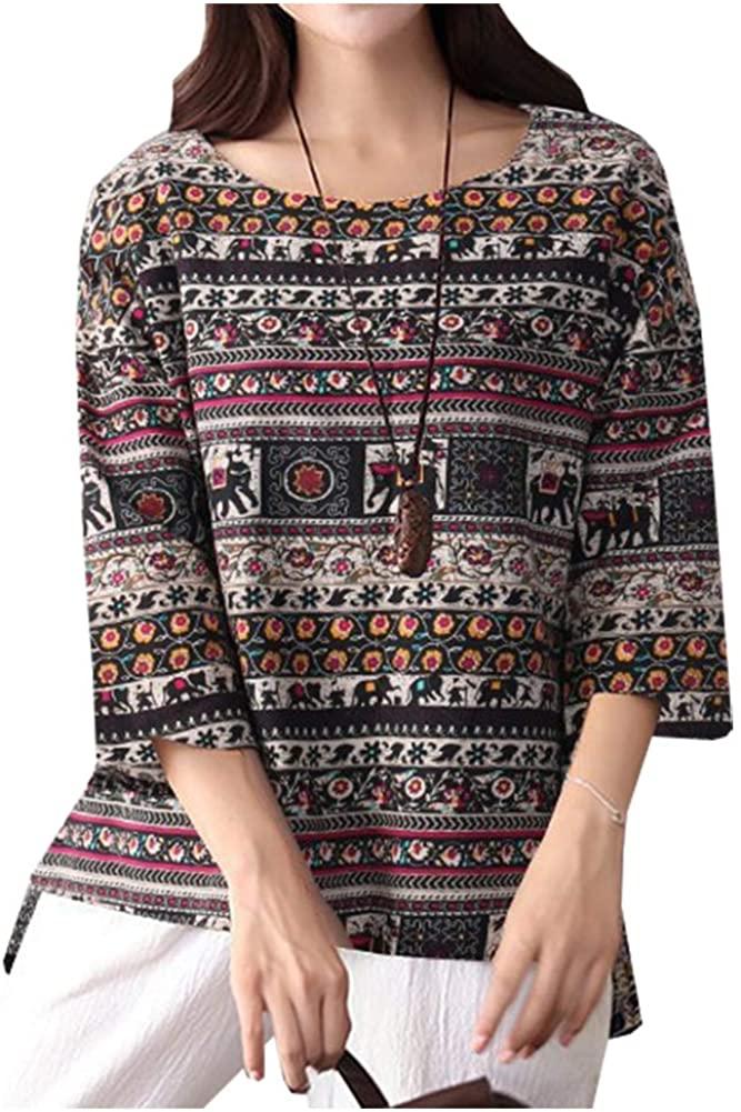 SCOFEEL Women's Cotton Linen Blouse Tops 3/4 Sleeves Scoop Neck Print Tunic Shirt