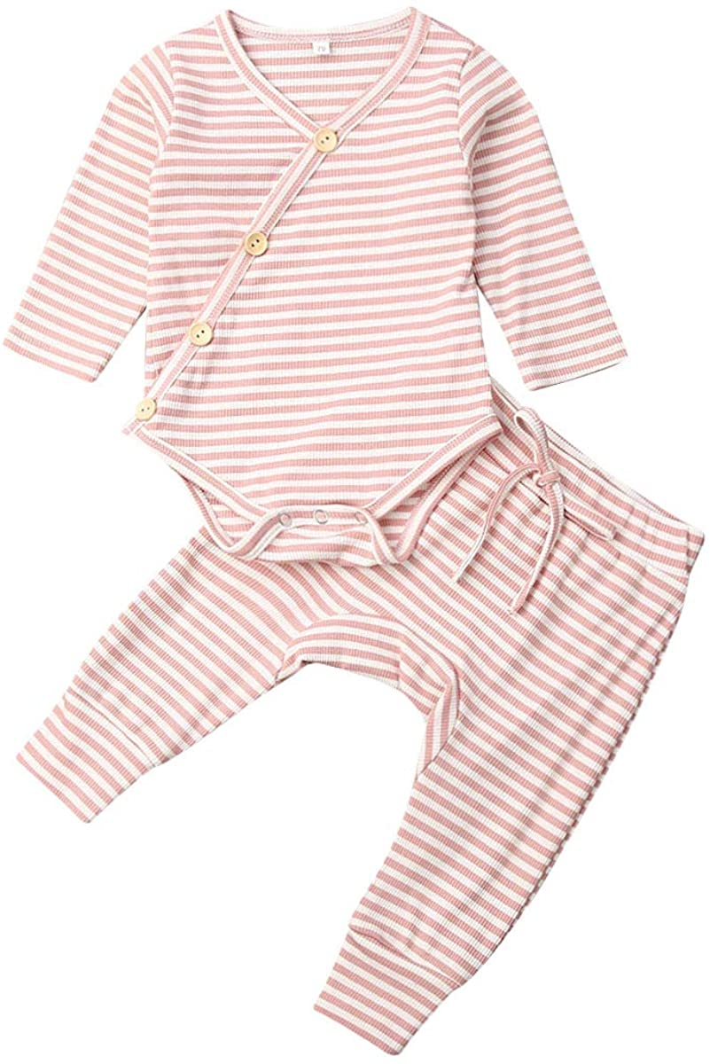 Newborn Baby Boy Girl Pajamas Clothes Long Sleeve Romper Bottom Bodysuit Tops + Leggings Pants 2Pcs Sleepwear Outfits