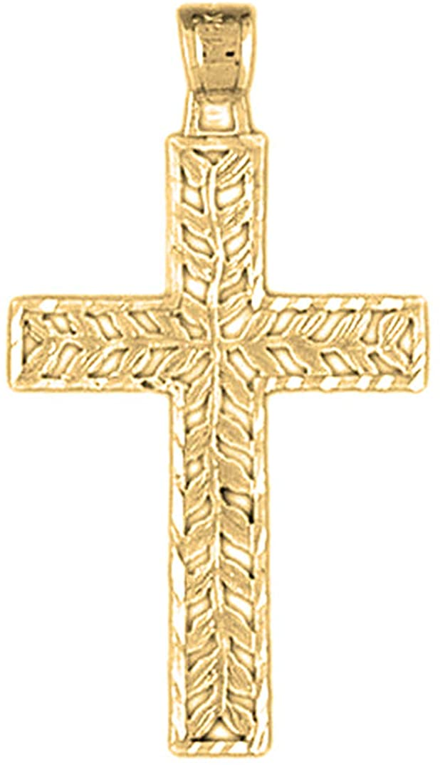 Jewels Obsession Silver Vine Cross Pendant | 14K Yellow Gold-plated 925 Silver Vine Cross Pendant