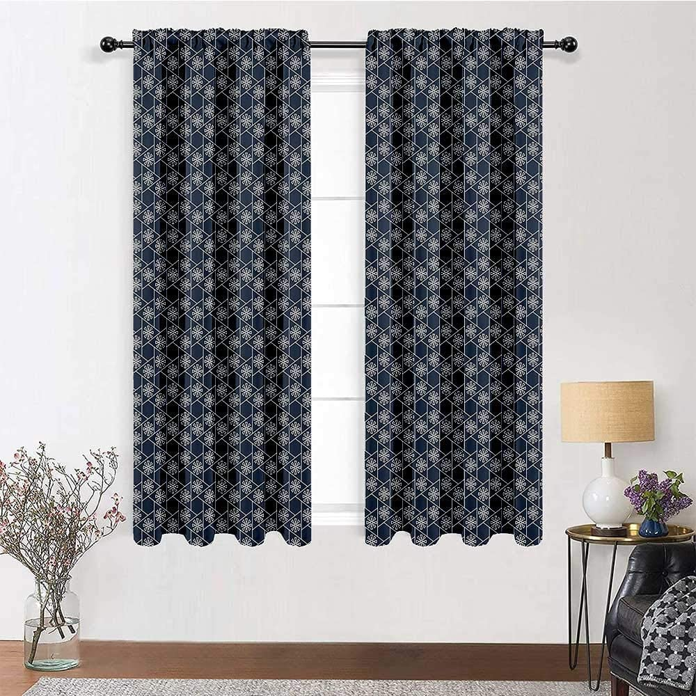 carmaxs Outdoor Curtains for Patio Waterproof Japanese Thermal Back Lined Curtain Panels Hexagons Triangles with Spring Flowers Eastern Geometric Tile 2 Panels 84