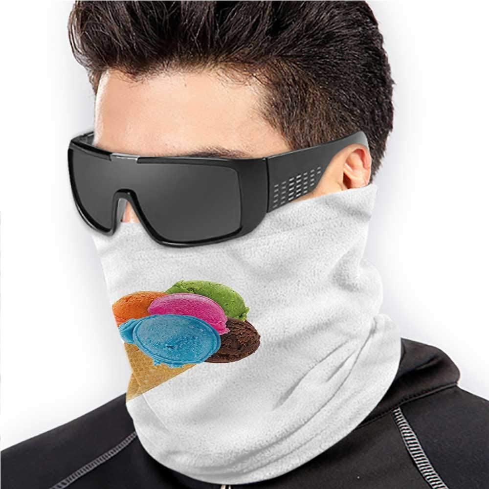 Face Scarf Ice Cream Headwear Neck Warmer Motorcycle Realistic Various Flavor 10 x 12 Inch