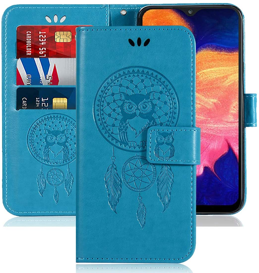 Galaxy A10E Case, Booceicd [Wrist Strap] Luxury PU Leather Wallet Flip Protective Phone Case Cover with Card Slots and Stand for Samsung Galaxy A10e 2019 (Blue)