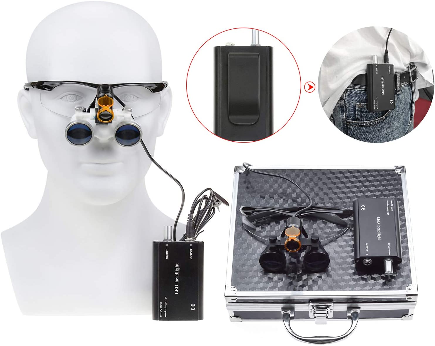 Zgood 3.5X420mm Working Distance Optical Glass Surgical Binocular Loupes + 5W LED Waist-hang Head Lamp with Filter + Black Aluminum Box DY-008