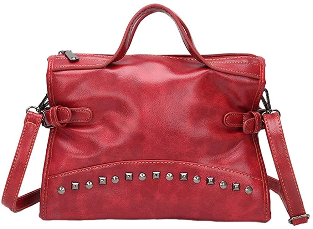 Rivets Crossbody Bag for Women,BOLUBILUY Large Capacity Zipper PU Leather Shoulder Bag Messenger Bags Travel Outdoor